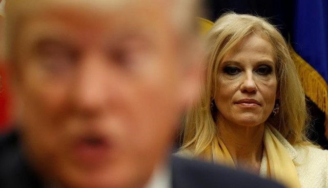 White House advisor Kellyanne Conway listens as US President Donald Trump meets with county sheriffs at the White House in Washington, US, February 7, 2017. Credit: Reuters