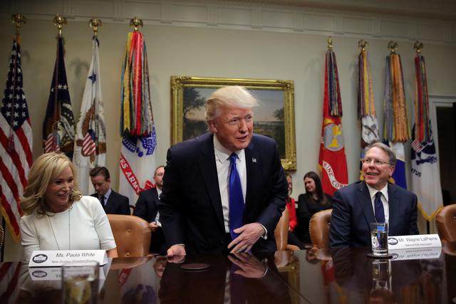 U.S. President Donald Trump attends a meeting in Washington U.S., February 1, 2017. REUTERS/Carlos Barria