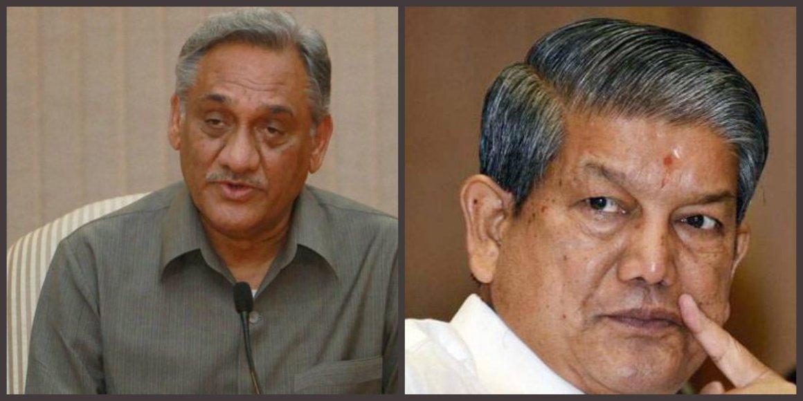 Vijay Bahuguna (L) and Harish Rawat. Credit: PTI