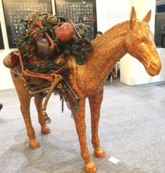 A papier mache packhorse by Kashmiri artist Veer Munshi on the ArtDistrictIII stand. Courtesy: Riding the Elephant