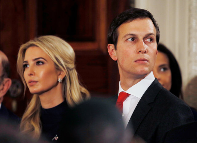 Ivanka Trump and her husband Jared Kushner watch as German Chancellor Angela Merkel and US President Donald Trump hold a joint news conference in the East Room of the White House in Washington, US, March 17, 2017. Credit: Reuters