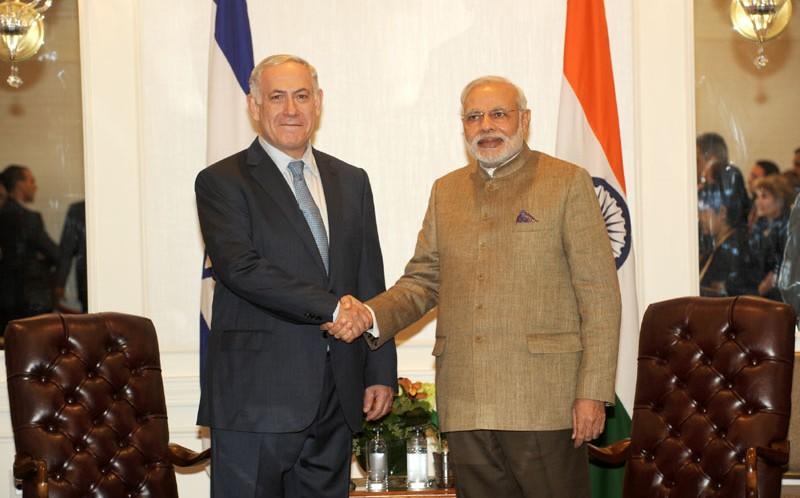 Prime Minister Narendra Modi with his Israeli counterpart Binyamin Netanyahu . Credit: PMO