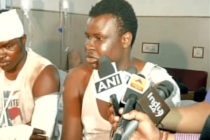 Nigerians who were attacked in Noida. Credit: ANI/Twitter