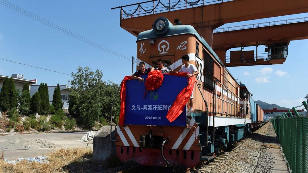 The inaugural freight train on a line from China to Afghanistan leaves its depot in August 2016. Credit: Reuters