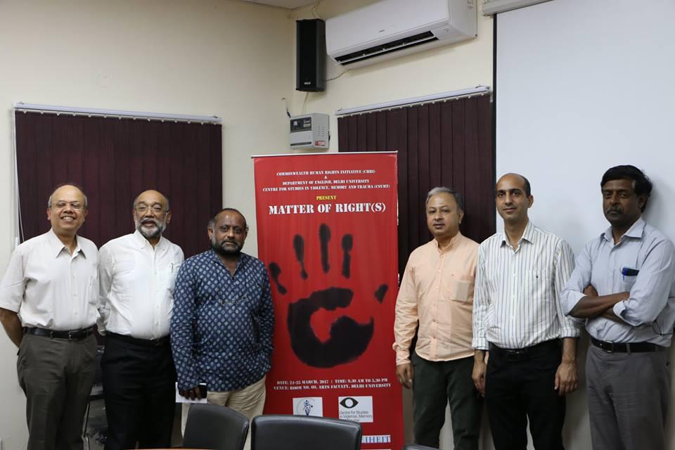 Matter of Rights. (L-R) DU professor Subarno Chattarji, CHRI director Sanjoy Hazarika, filmmaker Harshawardhan Varma, filmmaker Utpal Borpujari, filmmaker Abir Bazaz, CHRI manager Mohan Sundaram. Credit: Samarth Pathak