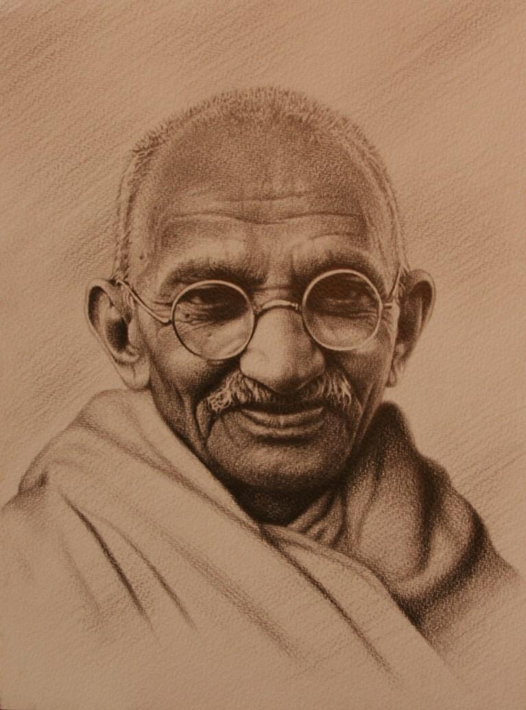 Portrait of Gandhi by Masood Hussein