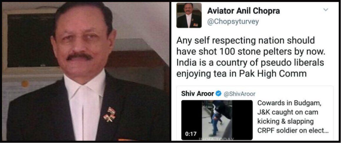 Air Marshal Anil Chopra and his tweet. Credit: Twitter