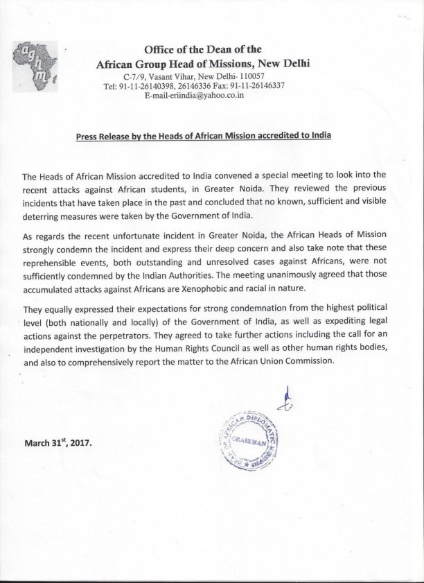 Press release by the heads of African diplomatic missions in India