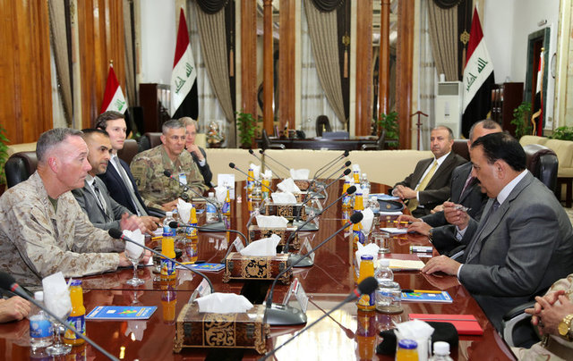 Iraq's defence minister Erfan al-Hiyali (R), meets with Marine Corps Gen. Joseph F. Dunford Jr., chairman of the Joint Chiefs of Staff (L), and US President Donald Trump's son-in-law and senior adviser Jared Kushner in Baghdad, Iraq April 3, 2017. Credit: Reuters
