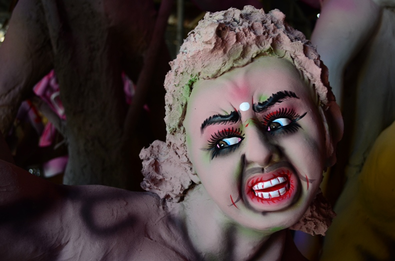 A clay idol of Mahishasur, the tribal deity who is defeated by Durga. Credit: Reuters/Files