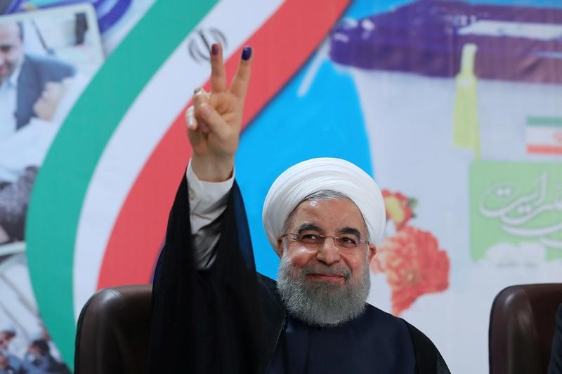 Iran's President Hassan Rouhani gestures as he registers to run for a second four-year term in the May election, in Tehran, Iran, April 14, 2017. Credit: President.ir/Handout via Reuters