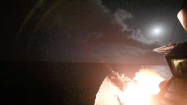 US navy guided-missile destroyer USS Porter (DDG 78) conducts strike operations while in the Mediterranean Sea which US defense department said was a part of cruise missile strike against Syria on April 7, 2017. Credit: Reuters