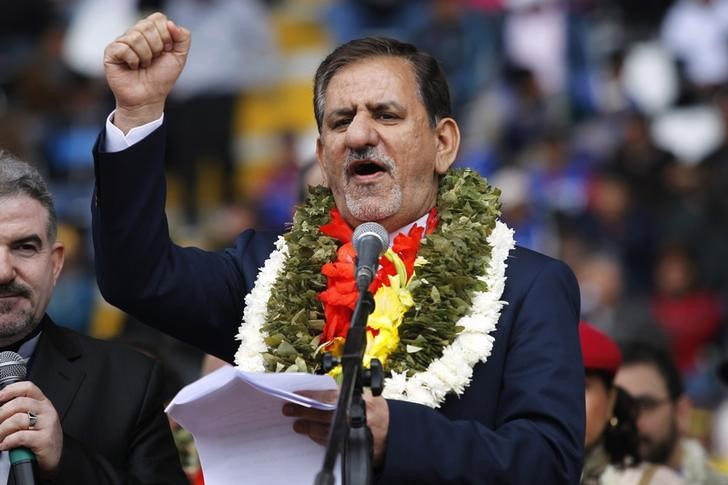 Eshagh Jahangiri delivers a speech during a welcoming ceremony for delegates of the G77+ China Summit alongside supporters of Bolivian President Evo Morales at Tahuichi Aguilera Stadium in Santa Cruz de la Sierra June 14, 2014. Credit: Reuters/Enrique Castro-Mendivil/Files