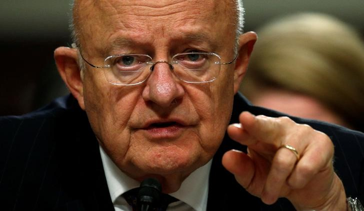 FILE PHOTO: James Clapper testifies before a Senate Armed Services Committee hearing on foreign cyber threats, on Capitol Hill in Washington, US, January 5, 2017. Credit: Reuters/Kevin Lamarque/File Photo