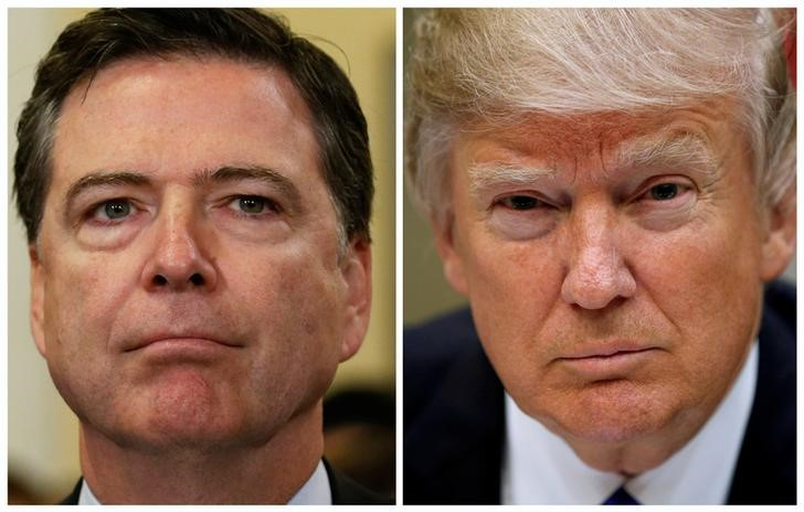 A combination photo shows FBI Director James Comey (L) on Capitol Hill in Washington, US on July 14, 2016 and US President Donald Trump at the White House in Washington, US, March 1, 2017. Credit: Reuters/Jonathan Ernst,Kevin Lamarque/Files