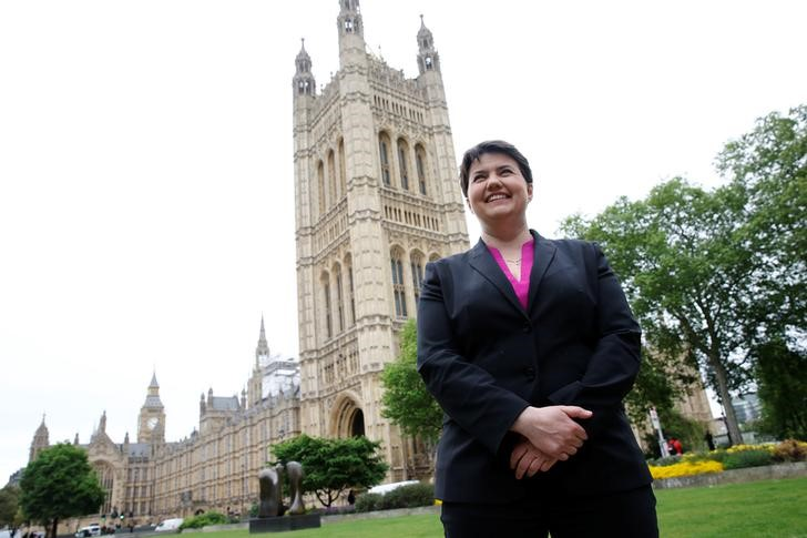 Ruth Davidson, the leader of the Conservative Party in Scotland, poses for photographers outside the Houses of Parliament in central London, Britain May 15, 2017. Credit: Reuters/Stefan Wermuth