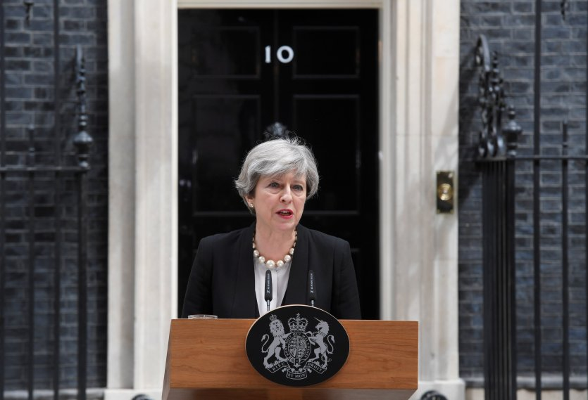 Britain's Prime Minister Theresa May speaks outside 10 Downing Street in London, May 23, 2017. Credit: Reuters/Toby Melville