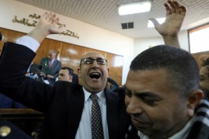 Egyptian lawyer and ex-Presidential candidate Khaled Ali shouts slogans inside the State Council courthouse after a ruling against the Egypt-Saudi border demarcation agreement, in Cairo, Egypt January 16, 2017. Credit: Reuters/Mohamed Abd El Ghany/Files