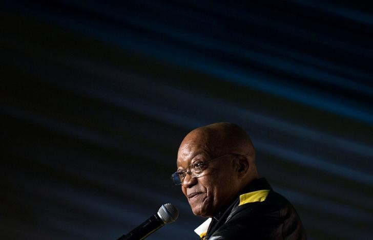 President Jacob Zuma addresses crowds gathered to celebrate his 75th birthday in Kliptown, Johannesburg, South Africa, April 12, 2017. Credit: Reuters/James Oatway/Files