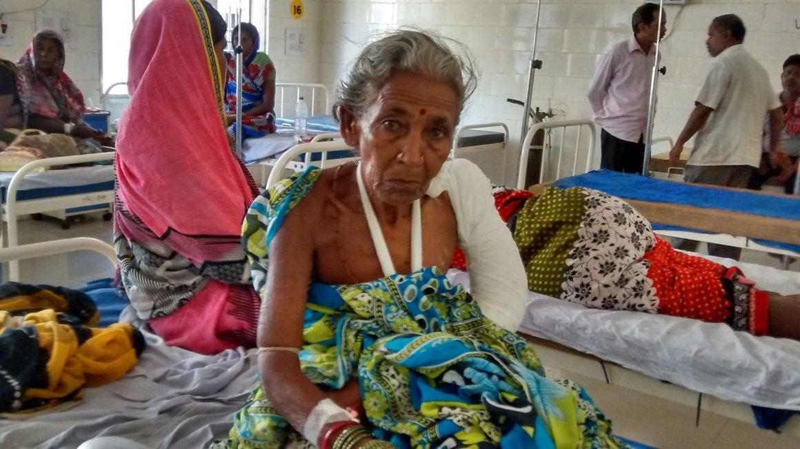 Seventy-year-old Hira Swain, injured in the attack. Credit: Ranjana Padhi