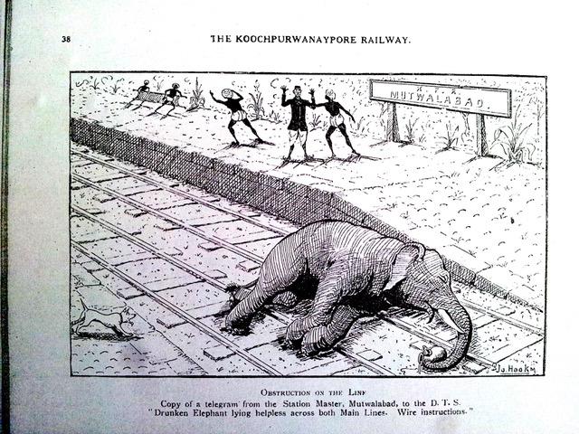 'Obstruction on the Line'. Source: The Koochpurwanaypore Swadeshi Railway, by Jo. Hookm
