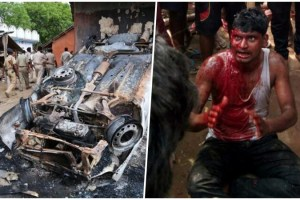 A charred vehicle that was torched by angry people during a violent protest and of the victims of the lynching who later died. Credit: PTI Photo