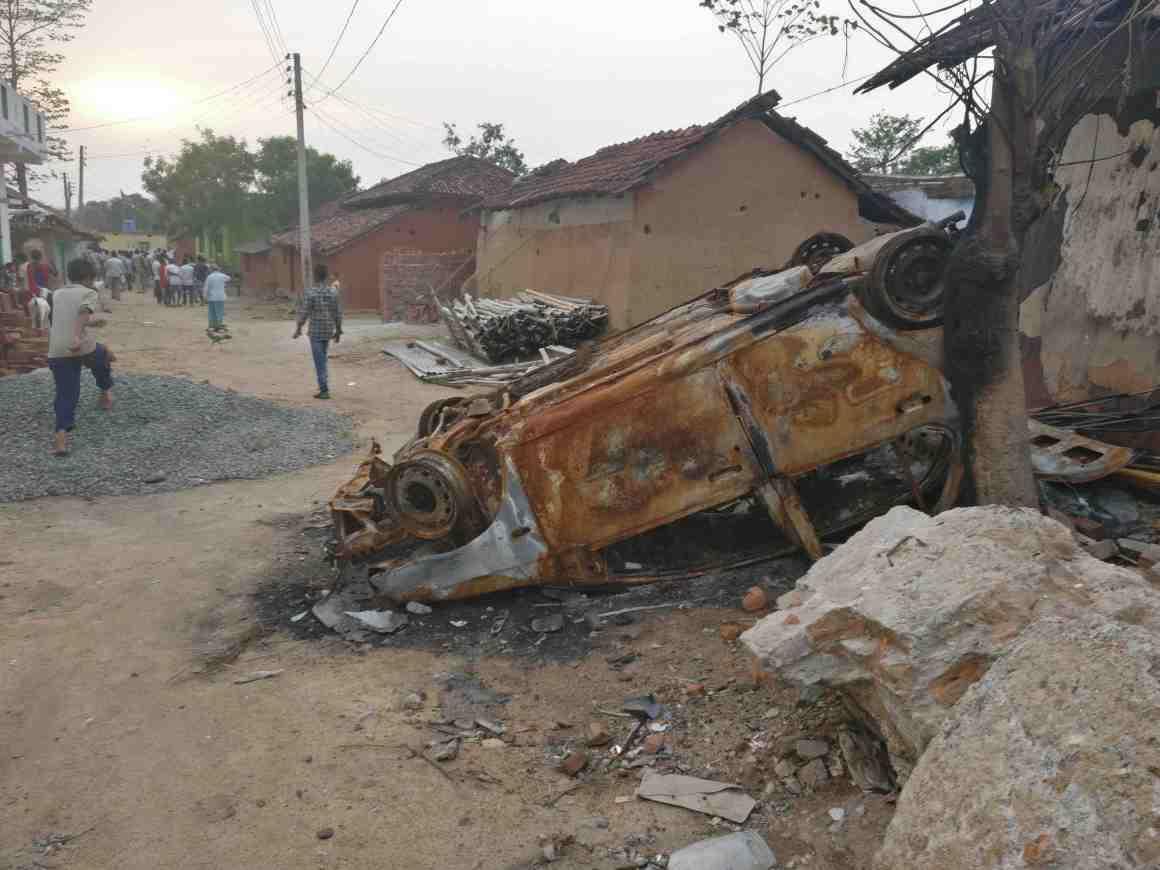 Remains of Naeem's car, set ablaze during mob action in Shobhapur. Credit: Ajoy Ashirwad Mahaprashasta