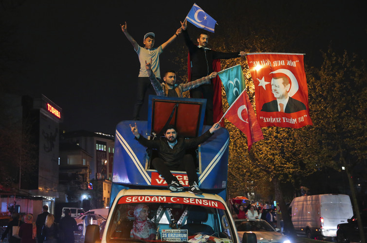 Supporters of Turkish President Tayyip Erdogan celebrate in Istanbul after the April 18 2017 referendum. Credit: Huseyin Aldemir/Reuters