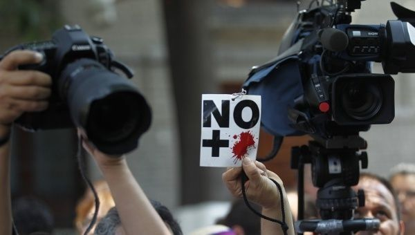 Journalists at a previous protest against the rising number of deaths of their colleagues in Mexico City. Credit: Reuters