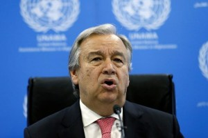 United Nations Secretary-General Antonio Guterres speaks during a news conference June 14, 2017. Credit: Reuters/Mohammad Ismail