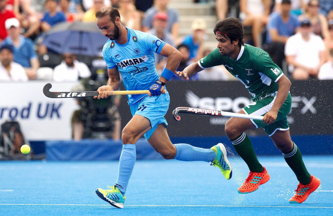India's Ramandeep Singh and Pakistan's Bilal Muhammad Aleem vie for the ball during their Hockey World League semi-final match in London on June 18. Credit: PTI