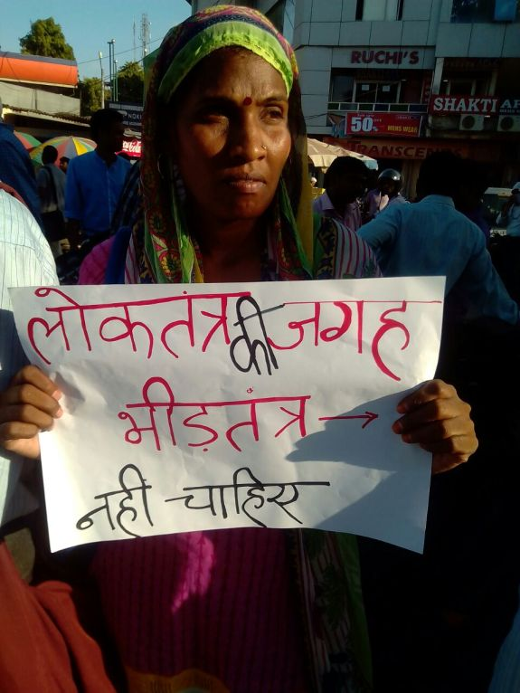 A protestor in Allahabad. Credit: Special Arrangement