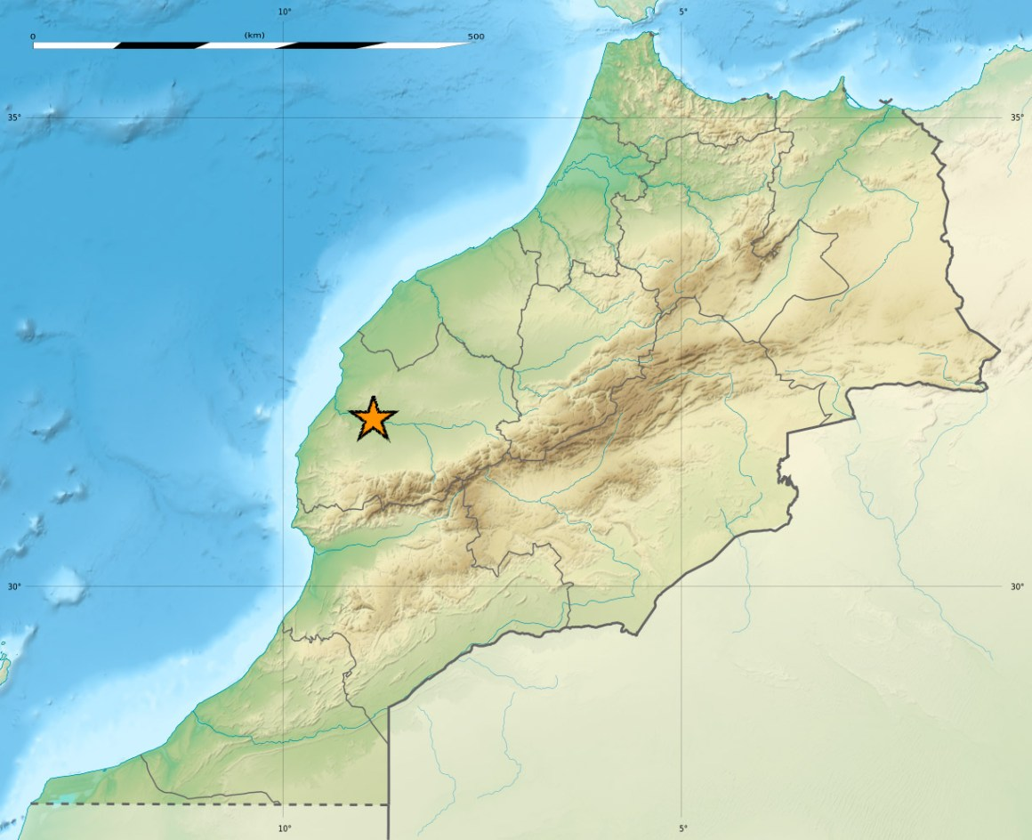 The location of Jebel Irhoud in Morocco. Credit: Eric Gaba/Wikimedia Commons, CC BY-SA 3.0