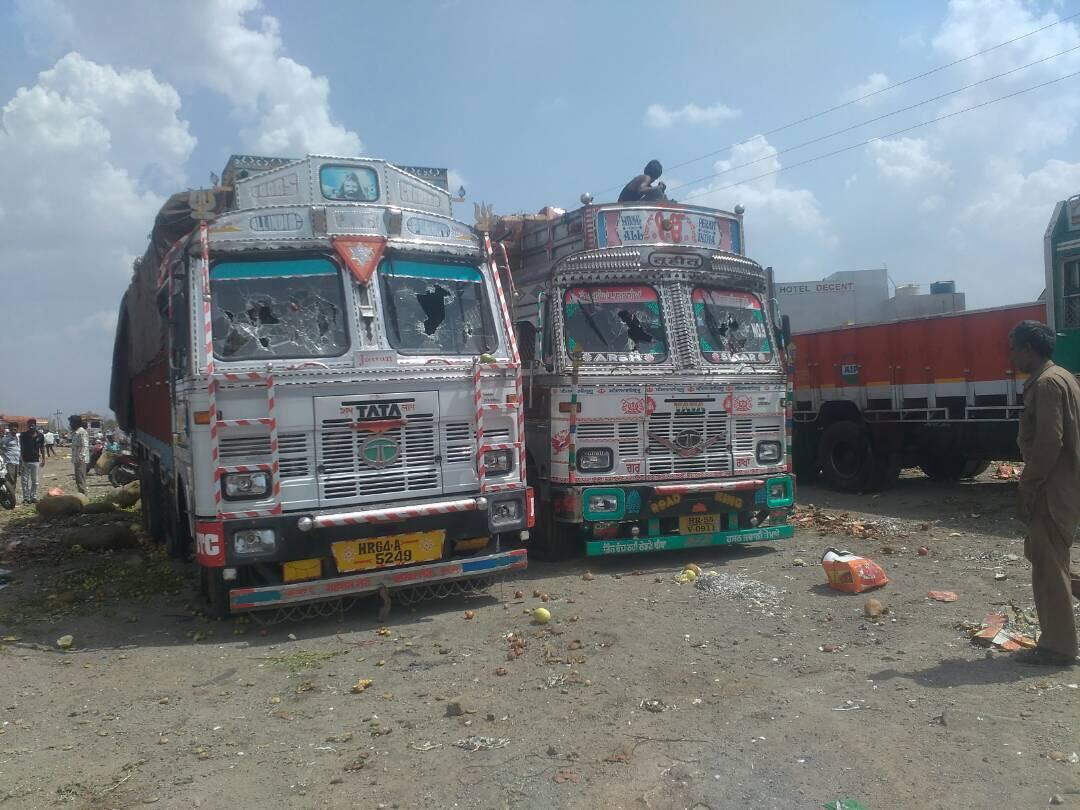 Vandalised trucks. Credit: Varsha Torgalkar