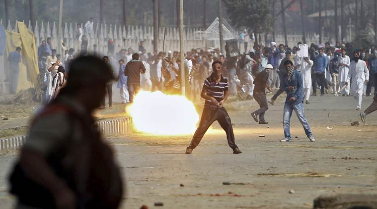 A teargas shell fired by Indian police explodes during a protest by Kashmiri demonstrators. Credit: Reuters/Danish Ismail/Files