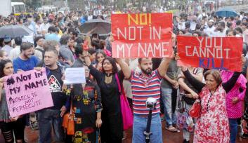 A view of the Mumbai protest. Credit: PTI