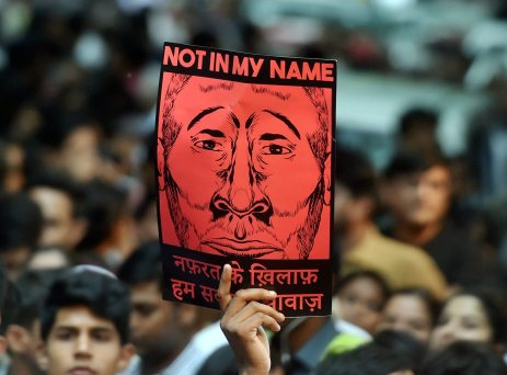 """A participant shows a placard during the """"Not in My Name"""" protest in Delhi. Credit: PTI"""