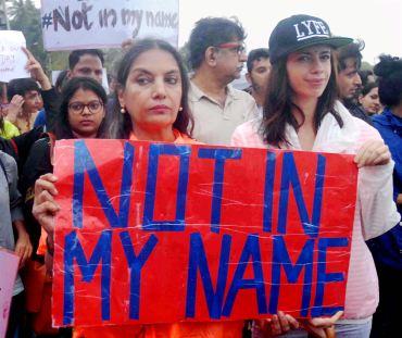Bollywood actors Shabana Azmi and Kalki Koechlin at the Mumbai protest. Credit: PTI