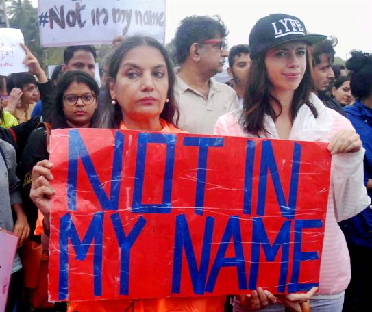 Bollywood actors Shabana Azmi and Kalki Koechlin at the Mumbai protest. Credit: PTI