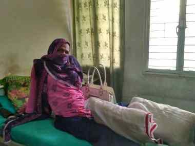 Shubha in her bed at Shalom Delhi Hospital. Credit: Priscilla Jebaraj