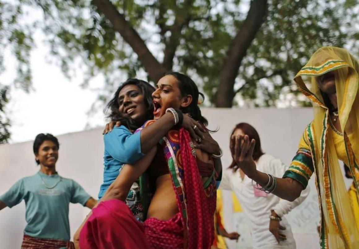 Representative image: Transgender people in Delhi celebrate the Supreme Court's NALSA judgment. Credit: Reuters