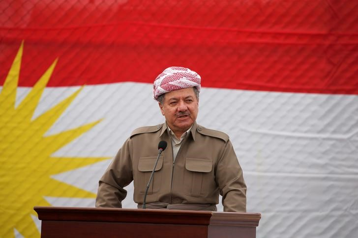 Kurdish Regional Government President Masoud Barzani speaks to the media during his visits in the town of Bashiqa, after it was recaptured from the Islamic State, east of Mosul, Iraq, November 16, 2016. REUTERS/Azad Lashkari/Files
