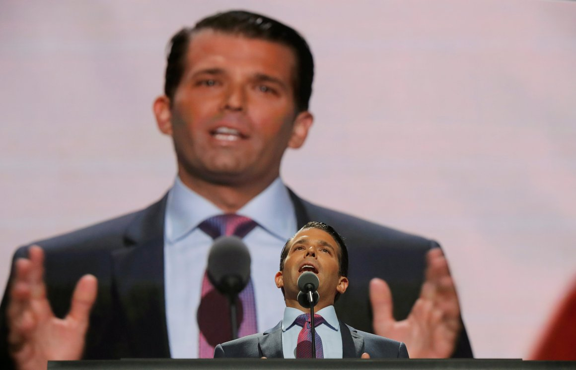 Donald Trump Jr. speaks at the 2016 Republican National Convention in Cleveland, Ohio U.S. July 19, 2016. Credit: Reuters/Brian Snyder/File photo