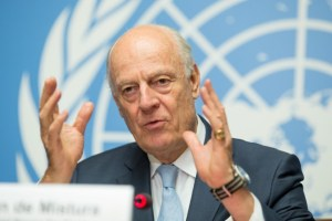 UN Special Envoy of the Secretary-General for Syria Staffan de Mistura speaks at a news conference at Palais des Nations in Geneva, Switzerland, July 14, 2017. Credit: Reuters/Xu Jinquan/Pool