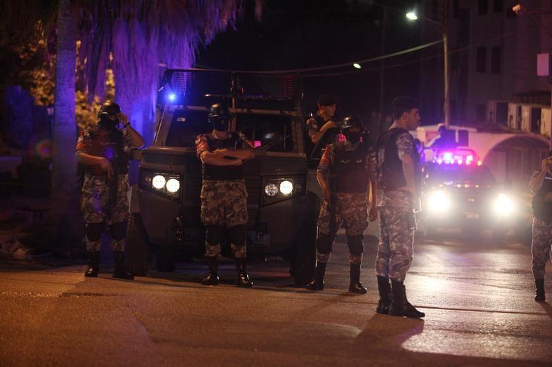Policemen are seen near the Israeli embassy in Amman, Jordan, July 23, 2017. Credit: Reuters/ Stringer