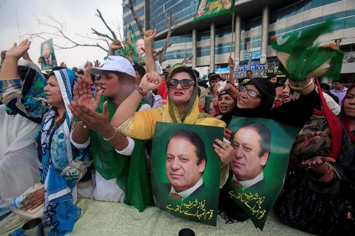 Supporters of Pakistan's Prime Minister Nawaz Sharif react after the Supreme Court's decision to disqualify Sharif, in Lahore, Pakistan, July 28, 2017. Credit: Reuters/Mohsin Raza