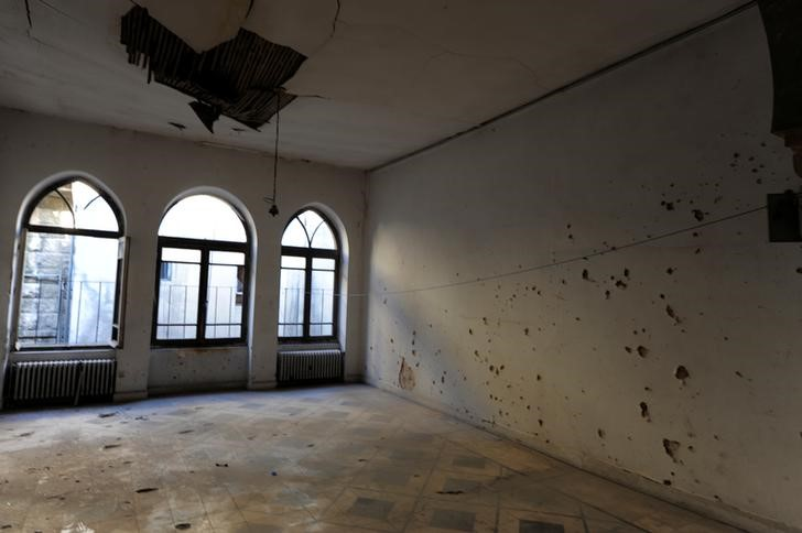 A view of a damaged room at the Baron Hotel in Aleppo, Syria July 14, 2017. Credit: Reuters/Omar Sanadiki