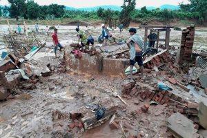Rayagada: A house destructed after flash floods in Rayagada district, Odisha on Monday. Credit: PTI