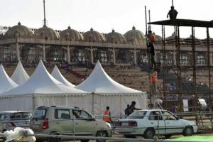 Site of World Culture festival organised by Sri Sri Ravi Shankar's Art Of Living foundation on the floodplains of the Yamuna in March 2016. Credit: PTI