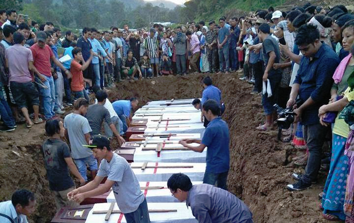 A burial for those who died in the Arunachal Pradesh landslides. Credit: Facebook/Kon Global Networks